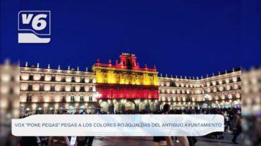 VOX pone pegas a la iluminación del 12 de octubre y la bandera de España en el antiguo Ayuntamiento